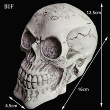 BUF Resin Craft Statues For Decoration Skull Head Creative Skeleton Figurines Sculpture Ornament Home Decoration Accessories(China)