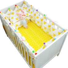 7 pcs/set Ins Hot Crown Design Crib Bedding Set Kawaii Thick Bumpers for Baby Cot Around Include Bed Bumper Sheet Quilt Pillow(China)