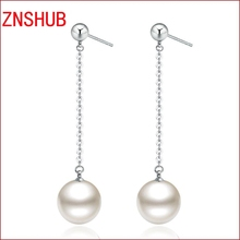Hot fashion simulated pearl opal crystal sterling silver earrings long paragraph tassel earrings wholesale jewelry manufacturers