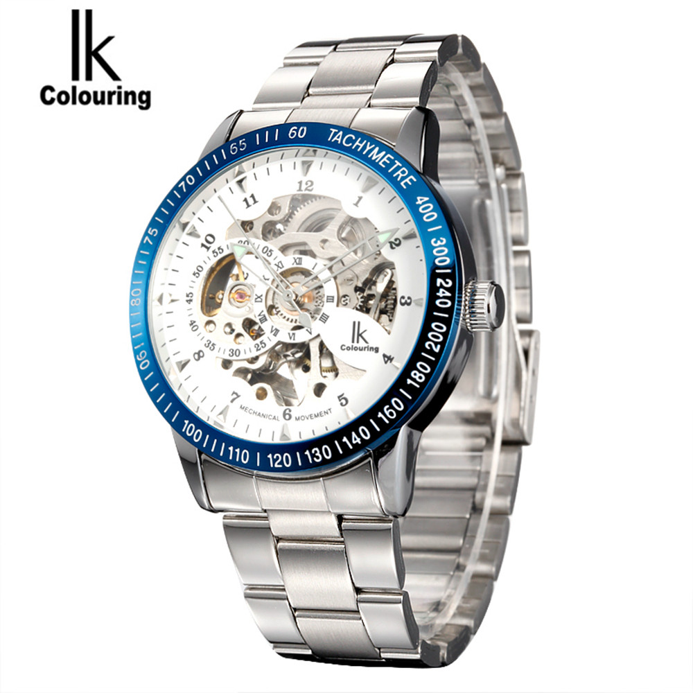 IK Luxury Fashion Casual Stainless Steel Men automatic Mechanical Watch Skeleton Watch For Mens Dress Wristwatch Free Ship<br>