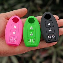 silicone rubber car key fob cover cap shell case skin protect for Nissan Elgrand Nv200 Evalia Serena MPV 4 button remote keyless