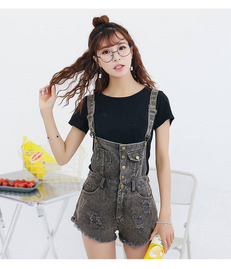 Denim Bibs Schoolgirl 2018 Spring New Loose Korean Thin Thin hole Flashes Fringe Shorts (11)