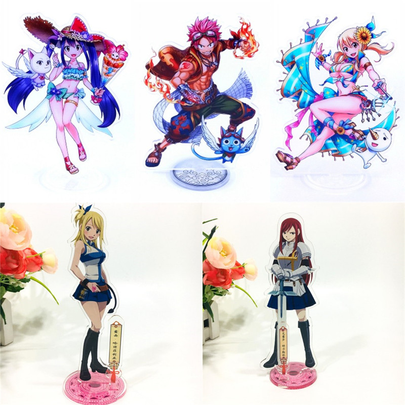 5pcs Anime FAIRY TAIL Lucy Erza Acrylic Stand Figure Cartoon Desk Stand Figure Halloween Cosplay Car Accessories Stand Toy