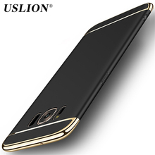 USLION Luxury 3in1 Design Phone Case For Samsung Galaxy S7 S7 Edge S8 S8 Plus Electroplated Hard PC Shockproof Phone Case Cover