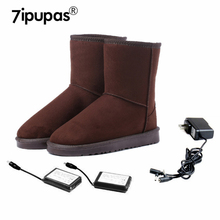 7ipupas Electric heating Boots women Suede Genuine leather winter snow boots Rechargeable heating Walking 9 hours Winter Shoes(China)