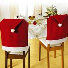 1pcs Hot Sale Fashion Santa Clause Red Hat Chair Back Cover Christmas Dinner Table Party christmas decorations for home
