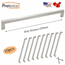 Probrico 10 PCS 12mm*12mm Square Bar Handle Stainless Steel Hole Spacing 288mm Cabinet Door Knob Drawer Pull PDDJ27HSS288(China)