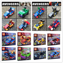 4PCS/LOT With CARS SuperHero Action figures Building Blocks Sets Kids Figures Toy Bricks Hulk Batman Vs Superman Marvel Avengers