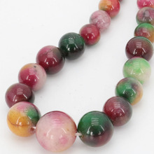 2017 new 6-12mm Charming Multicolor Morganite Round Chalcedony Jewelry Beads Necklace Natural Stone 17''BV276 Wholesale Price(China)