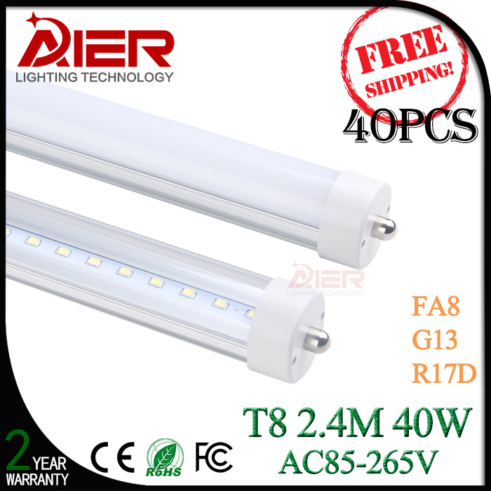 free shipping FA8 single pin 2400mm led tube light 8ft with 192pcs SMD2835<br><br>Aliexpress