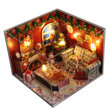 Christmas Gift Diy Wooden Doll House With Furniture&Light &Dust Cover Miniature Dolls for Houe 3D Puzzle DollHouse Toy Gifts