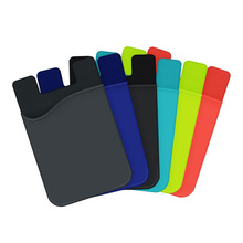 Various Colors Elastic Cell Phone Wallet Case Credit ID Card Holder Pocket Stick On 3M Adhesive Black/Gray/Blue/Green/Red(China)