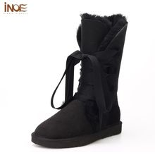 INOE Wool Lined Boots Sheepskin Leather Shoes Women's Half-Boots Lace Up High Boots Cheap Fur Ladies Size 42 Leather Shoes 11