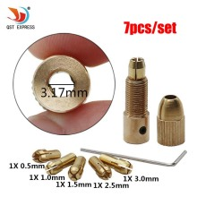 QSTEXPRESS High Quality Best Price 5pcs/Set 0.5-3mm Small Electric Drill Bit Collet Micro Twist Drill Chuck Set(China)