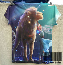 Track Ship + New Summer Fresh T-shirt Tee T Top Tee Giant Lion Fairy Girl in Shiny Night Cosmos Leo 0311