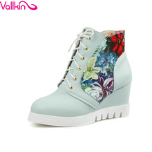 VALLKIN Fashion wedge high heel ankle boots PU leather warm women boots,platform pink blue boots