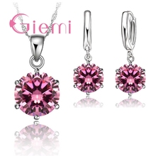 Giemi Cheapeat 925 Sterling Silver Necklace Women 2018 Holiday Gift Wedding Jewelry 6 Claw Cubic Zircon Pendant Engagement