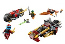2016 New BELA 10444 Ninja Bike chase Building Blocks Set 3 1 Kai's Blade Bricks toys Compatible 70600 - Baby toy stores store