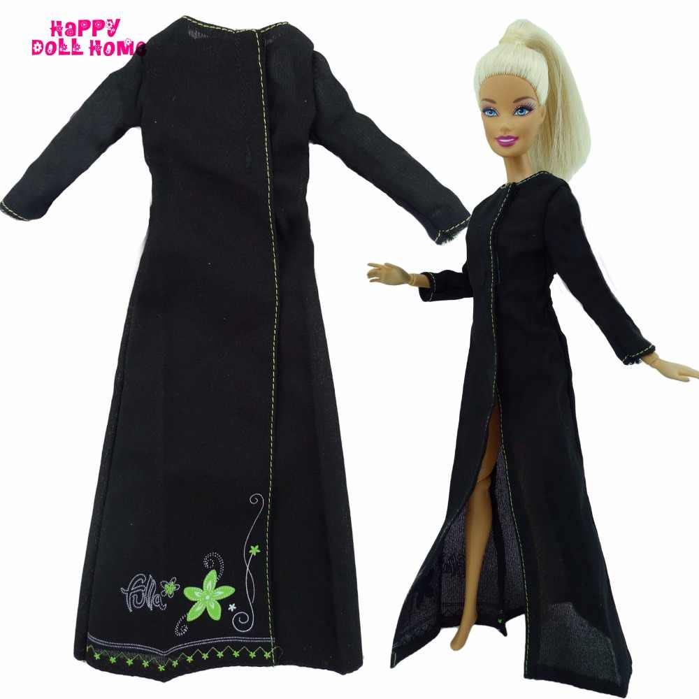 Black Dress Long Sleeves Costume Split Skirt Princess Gown Toy Clothes For Barbie  Doll Dollhouse Accessories 0dcf5f662927