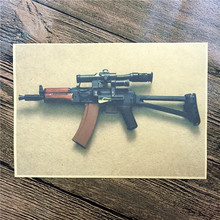 "Retro kraft paper poster "" about machine gun"" Family Decorates A Poster Paper Graft Vintage Poster Wall Sticker"
