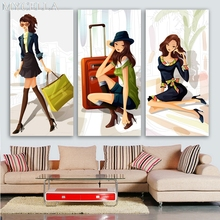 MYCELLA Diy Fashion illustrations Diamond Mosaic Embroidery Craft Art Gift Full Resin Cartoon girl Diamond Painting Home Decor