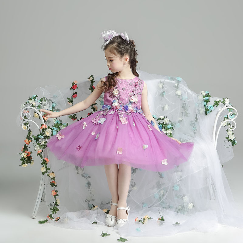 Flower girl applique dress catwalk tuxedo summer for size 3 4 5 6 7 8 9 10 11 12 13 14 years child purple tutu princess dress<br>