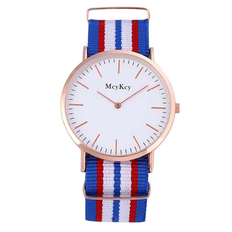 McyKcy Fashion Luxury Brand Casual Women Watch Simple Multiple Colors Fabric Strap High Quality Quartz Watches Rosy Gold Hot<br><br>Aliexpress