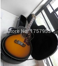 Factory direct wholesale  Newest Custom Nice Vintage Sunburst J 200 acoustic guitars with hardcase with Fishman Pickups In Stock