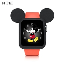 FI FEI 42 mm Watch Soft Silicone Case Cover For Apple Watch Series 1 2 3 Cover For Apple Watch 38mm 42mm Cute Mickey Mouse Ears(China)