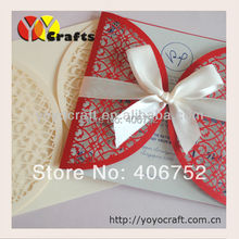 Customized wedding invitation card elegant fence design red ivory laser cut handmade paper wedding invitation card
