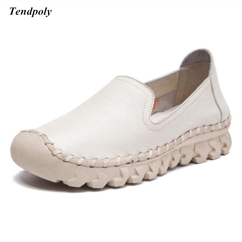 2018 new genuine leather fashion wild shoes size (35-40) spring and autumn round flat pedal flat Womens shoes hot sales casual<br>