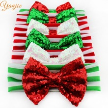 "6 pcs/lot Chic Christmas Festival Kids Girl 5"" Red/Green Sequins Bow Striped Headband New Arrival DIY Hair Accessories Headwrap"