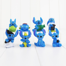 8pcs/lot Cartoon Lilo & Stitch PVC Figure Toy Cute Performance Stitch Mini Collection Model Doll for Children Gift