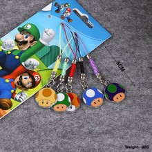 5pcs/set Super Mario Wario Cellphone Pendant Action Figures Colorful Mushroomhead Japan Anime Collection Kids Toys #F(China)