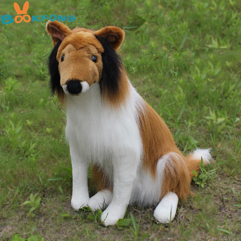 BOOKFONG 55CM Simulation Rough Collie Plush Toy Puppy Dog Stuffed Animal Collie Children Birthday Gift Shop Home Decor Prop Toy<br>