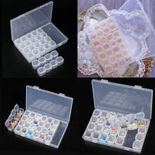 2017 New Clear Plastic 28 Slots Porable Empty Nail Art Storage Box Jewelry Display Organizer Beads Storage Holder Box Case
