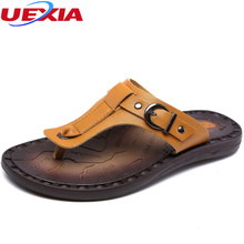 Buy UEXIA New Summer Leather Beach Flip Flops Men Shoes Casual High Soft Sole Fashion Breathable Patchwork Leather Sandalias for $20.40 in AliExpress store