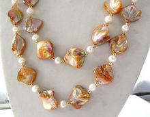 Double White Pearl Orange South Sea Shell Necklace AAA style Fine Noble real Natural free shipping