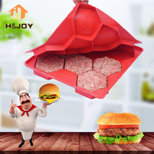 Hamburger Burger Press Patty Maker BBQ Meat Hamburger Mold Patties Red Silicone Freezer Container Barbecue FDA Kitchen Cooking