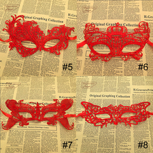 1Pcs Red Hard Lace Mask Party Sexy face Masquerade Mask Venetian Carnival halloween cosplay Venetian mask(China)