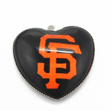 12pcs MLB Heart San Francisco giants Charms Baseball Sports Dangle Charms Pendants DIY Jewelry Accessory Floating Hanging Charms