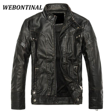 WEBONTINAL 2017 Winter Brand Casual Faux Men Leather Jacket Male Coat Motorcycle Zipper Quality Thick Imported Man Outerwear