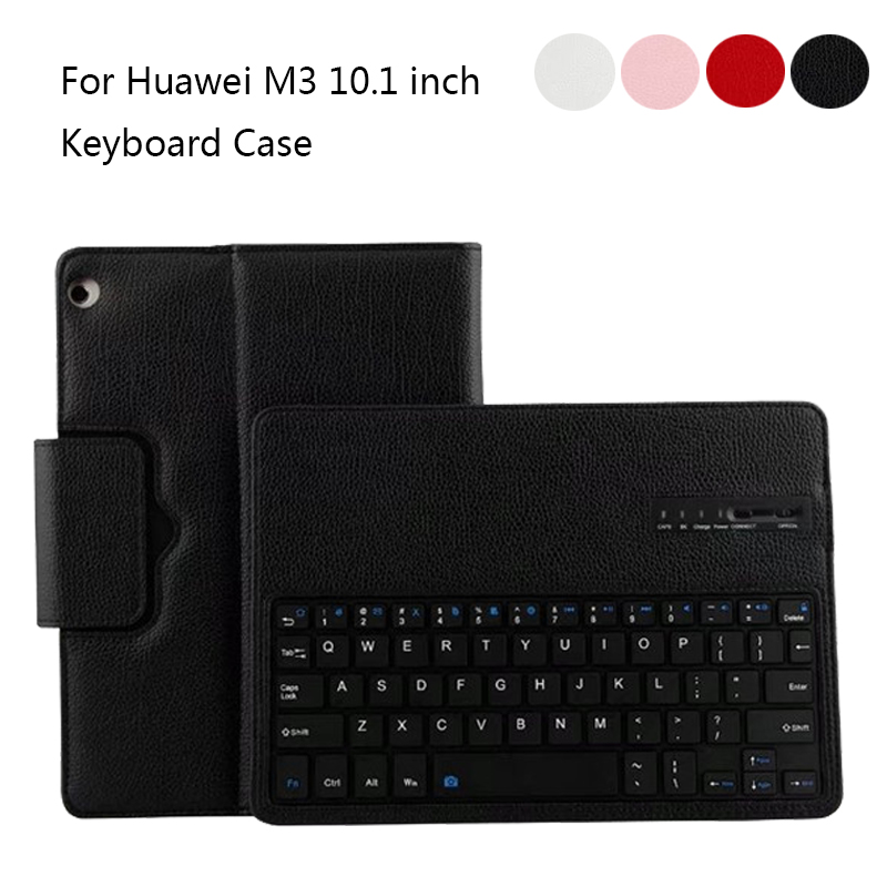 For Huawei MediaPad M3 10.1 BAH-W09/AL00 Removable ABS Bluetooth Russian/Hebrew Keyboard  PU Leather Protective Case Stand Cover<br>