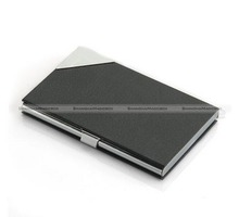 Stainless Steel Faux Leather Name Credit ID Business Card Holder Purse Box Case Black Red SMB 23014301(China)