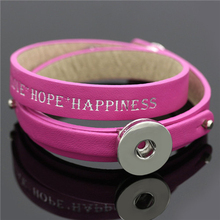 Pink Leather Wrap Snap Bracelet&Bangles For Women Men fit 18mm/20mm DIY Snap Buttons Bangles Hope Happiness Love Bracelets(China)