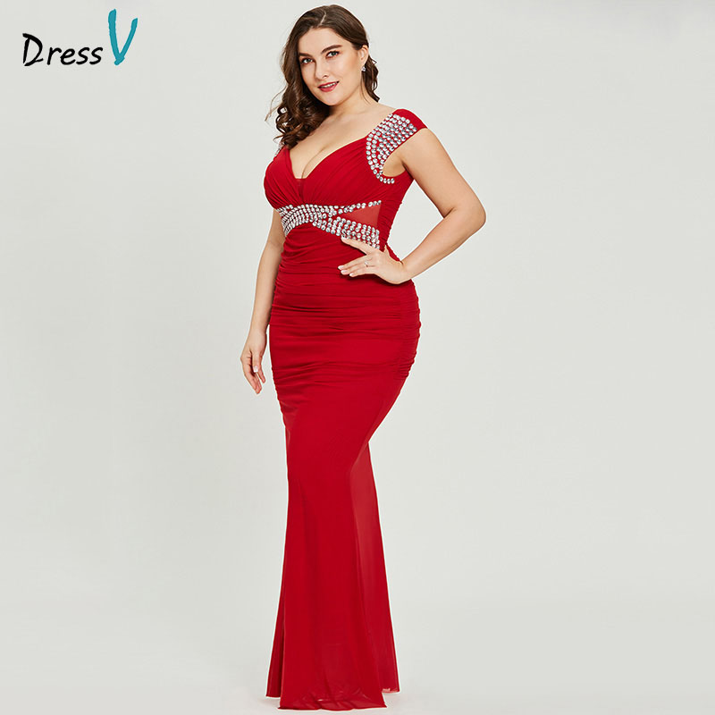 Dressv red v neck plus size evening dress elegant sheath sleeveless wedding party formal dress beading evening dresses