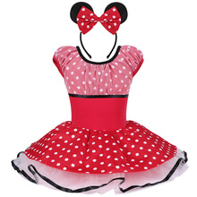 Cute Girls Minnie Mouse Dancewear Ballet Dress with Head Band Mickey Cosplay Polka Dots Party Skirt Ballet Tutu Dress for 2-8Y
