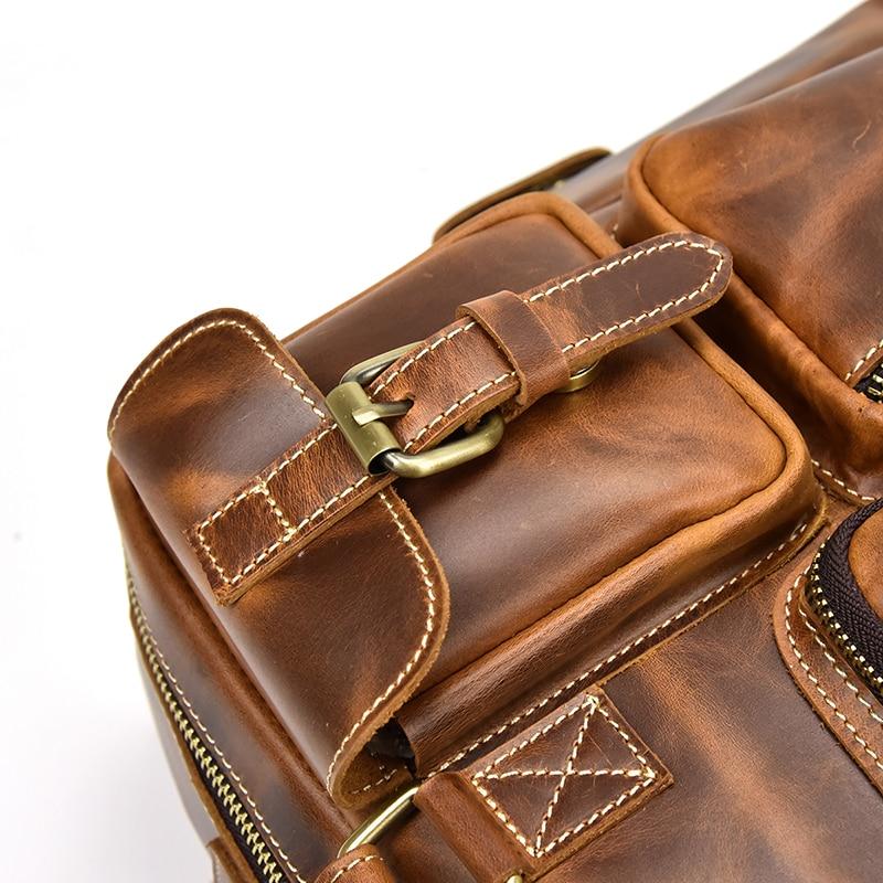 Men genuine leather Leather Briefcase Large Laptop business bag multi-functional travel Bag shoulder bag Cowhide messenger bag