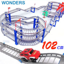 140pcs supper big DIY Assemb Slots Off-road Vehicle 3D Electric Rail Car 3Layers Slot Kit Spiral Track Roller Coaster Child Gift(China)