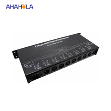 8 way dmx splitter amplifier dmx 512 signal distributor for digital led lights ac 110/220v most connect 16pcs signal amplifier
